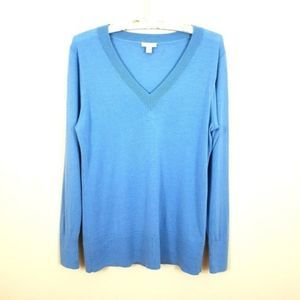 J. Jill Blue Merino Wool Long Sleeve Sweater XS